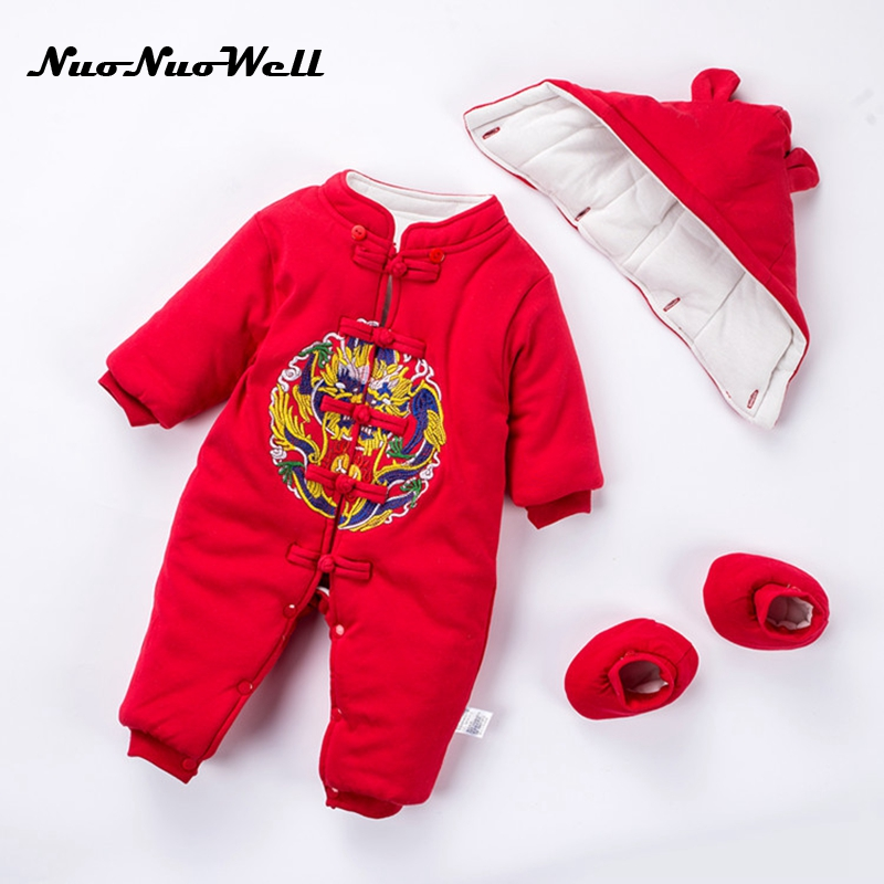 NNW Winter Thick Cute Hooded Baby Rompers Baby Jumpsuit+Hat+Shoes Boys Clothes Outfits Newborn Clothing Baby Boys Infant Outwear