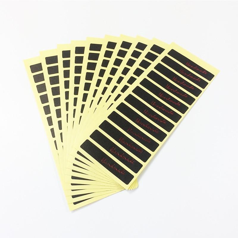 120pcs/lot Vintage Black Series Kraft Paper Handmade Long Stripe Sticker On Rectangular Sealing