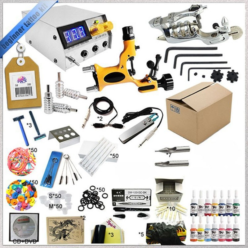 Wholesale Professinal Tattoo Kit 2 Gun Complete Machine Equipment +Teaching CD+Ink sets +Needles for Beginners Beauty Tools