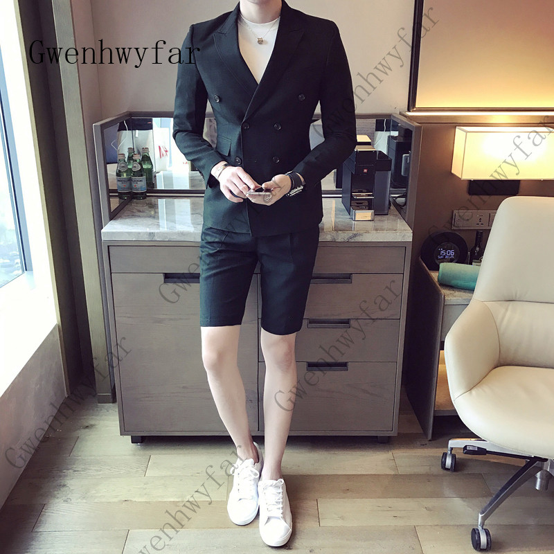 Summer-khaki-Men-Suit-With-Short-Pants-2018-Double-Breasted-Slim-Fit-blue-Male-Blazer-Party (3)