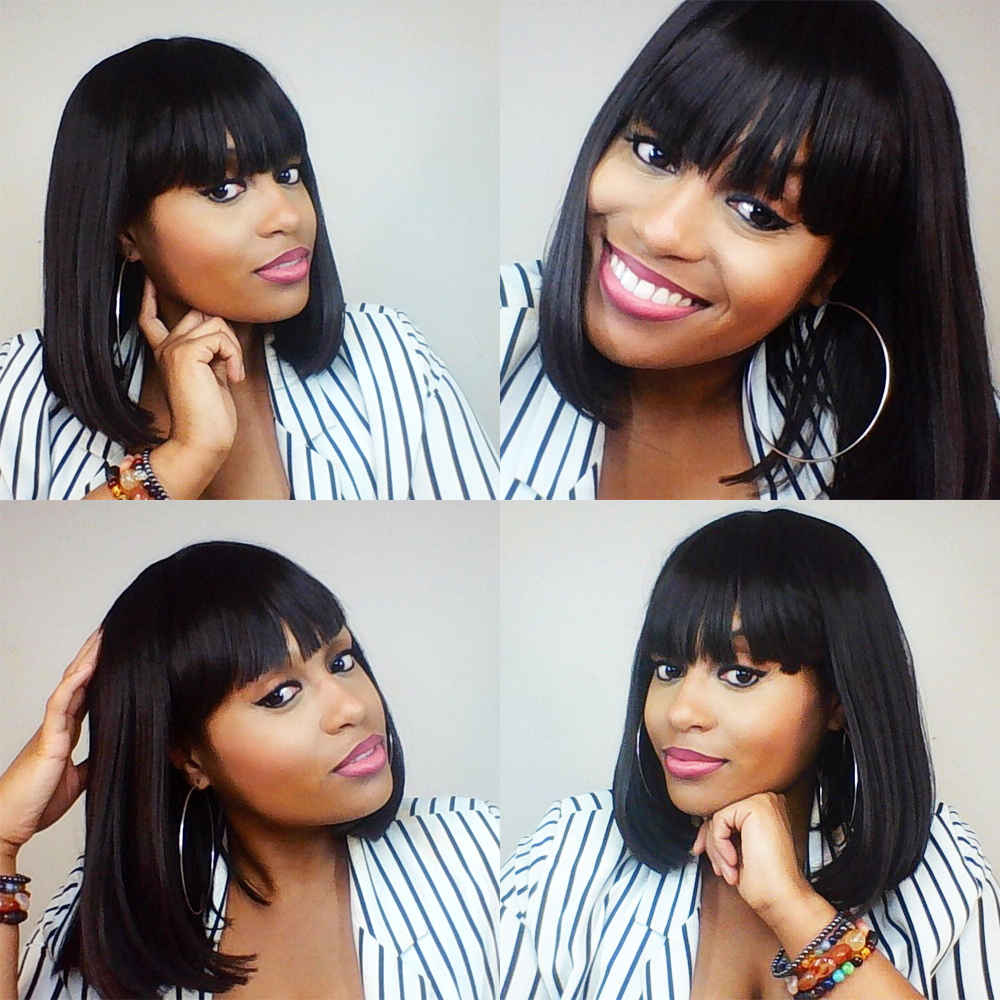Silky Strands Heat Short Resistant Black Wigs For Women With Flat Bangs African American Brown Straight Bob Wig Synthetic Hair