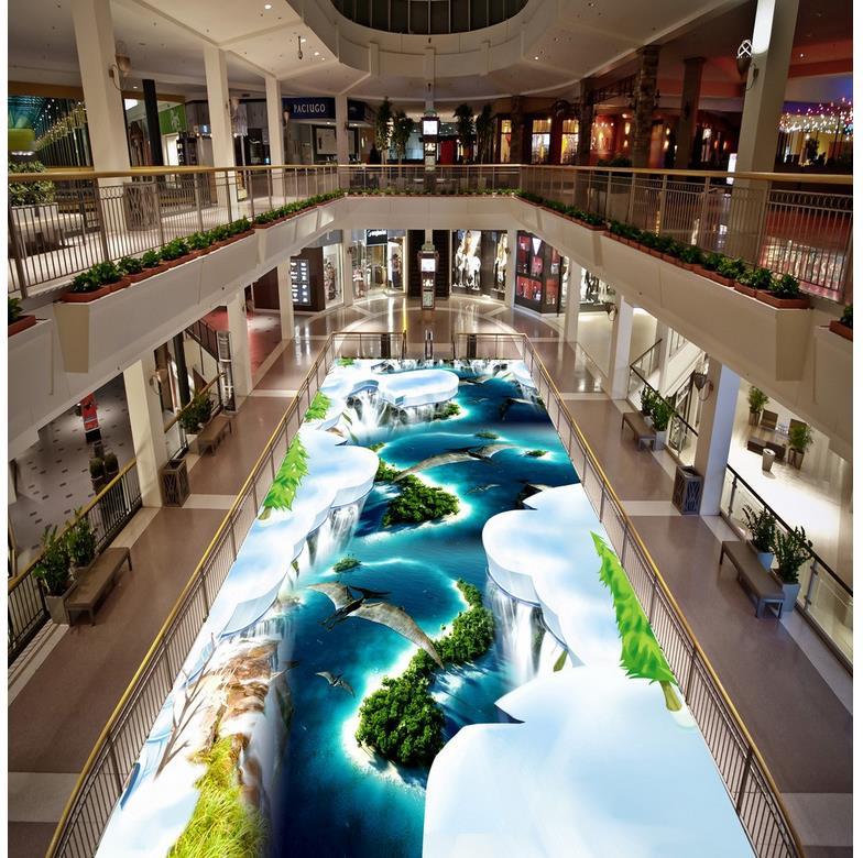 PVC floor sticker painting Murals Snow ocean scenery bird 3d drawing Modern sticker 3D floor