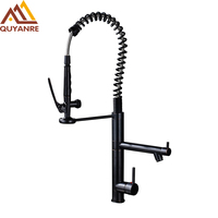 Black Color Kitchen Sink Faucet Dual Handle Dual Spout Bathroom Spring With Cold And Hot Pipes