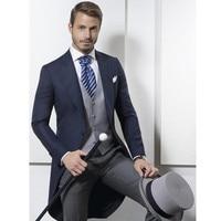 2017 Custom Made Classic Design Navy Blue Tailcoat Groom Tuxedos Men's Wedding suit Prom Clothing Men Suits (Jacket+Pants+Vest)