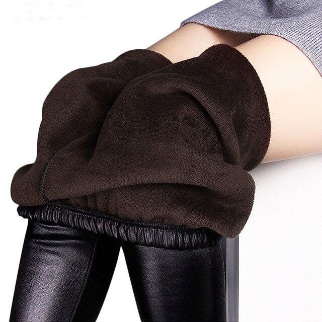 c36d776853fa1 Winter leggings women autumn warm leggings Fake leather Velvet pants  Stretch Skinny sexy thickening black Leggings Pants