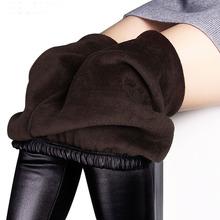 Zimowe legginsy damskie jesienne ciepłe legginsy imitacja skóry aksamitne spodnie stretch chudy seksowny pogrubienie czarny legginsy spodnie tanie tanio Kobiet Standardowych Długość kostki Wełna poliester spandex Dziane cpant0 Drukowania Połowie