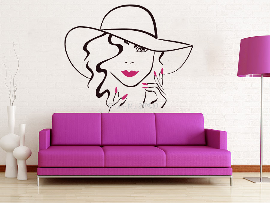 3d poster face makeup wall decal lips eyes vinyl wall. Black Bedroom Furniture Sets. Home Design Ideas