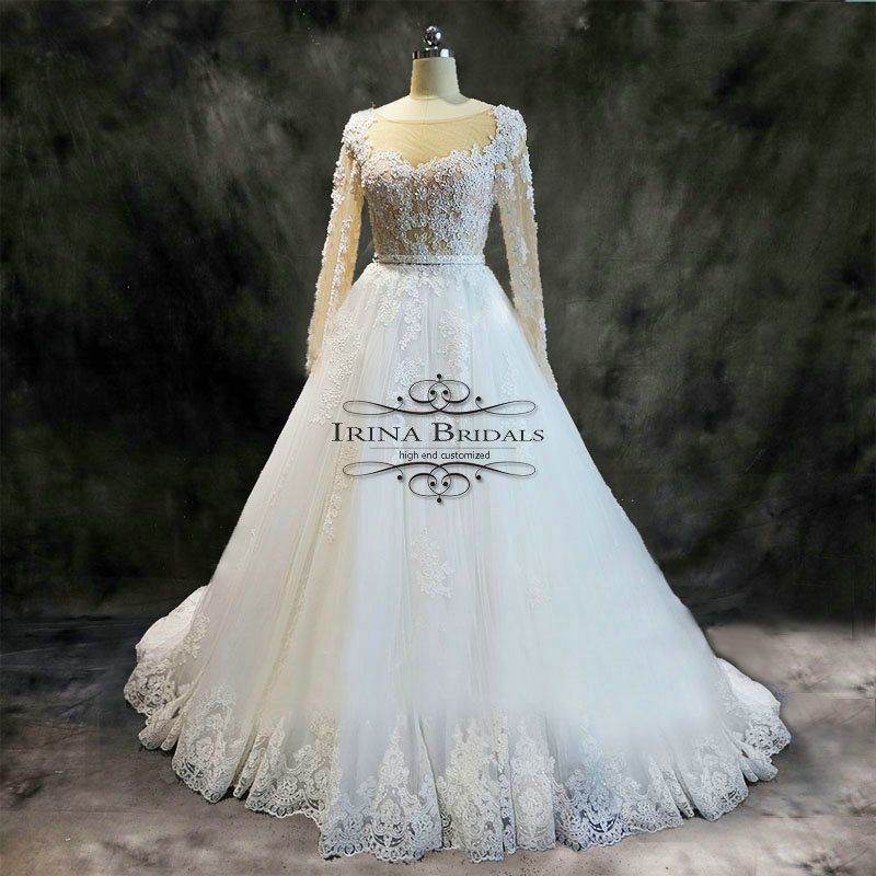 Irina Bridals Lace Appliqued Sequins Belt A Line Long Sleeve Wedding Dress  Real Photos-in Wedding Dresses from Weddings   Events on Aliexpress.com  af40bb61341