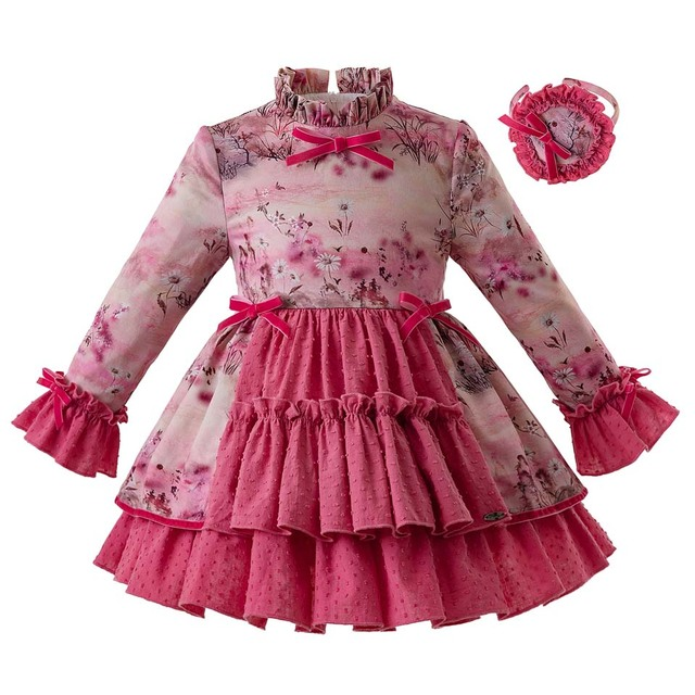 15cdb0669 Pettigirl Latest Vintage Pink Flower Princess Party Baby Girl Dress Kids  Dresses For Girls With Headband And Bow G-DMGD106-B342