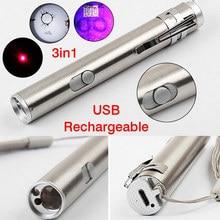 New 3 in1 Mini USB Rechargeable LED Laser UV Torch Pen Flashlight Multifunction Lamp @8 JD9 WWO66