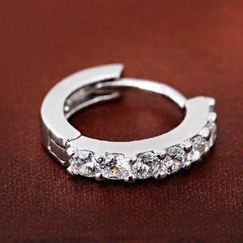 Silvering Plated Earrings Small Round Rhinestones Hoop Earrings Women's Fashion Jewelry 1