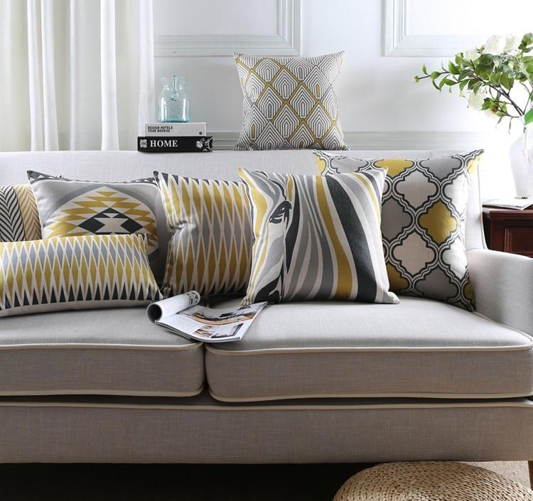 Скандинавском стиле геометрические декоративный диван диванная наволочка желтый серый Зебра