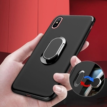 Metal Ring Stand Phone Case Cover With Magnetic Adsorption 360 Rotation Holder TPU for iPhone