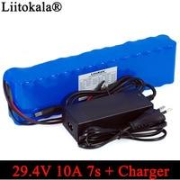 Liitokala 7S4P 24 V 10ah baterias 250 W 29.4 v 10000 mAh Battery pack 15A BMS para motor cadeira conjunto carregador de Energia elétrica + 29.4 V 2A