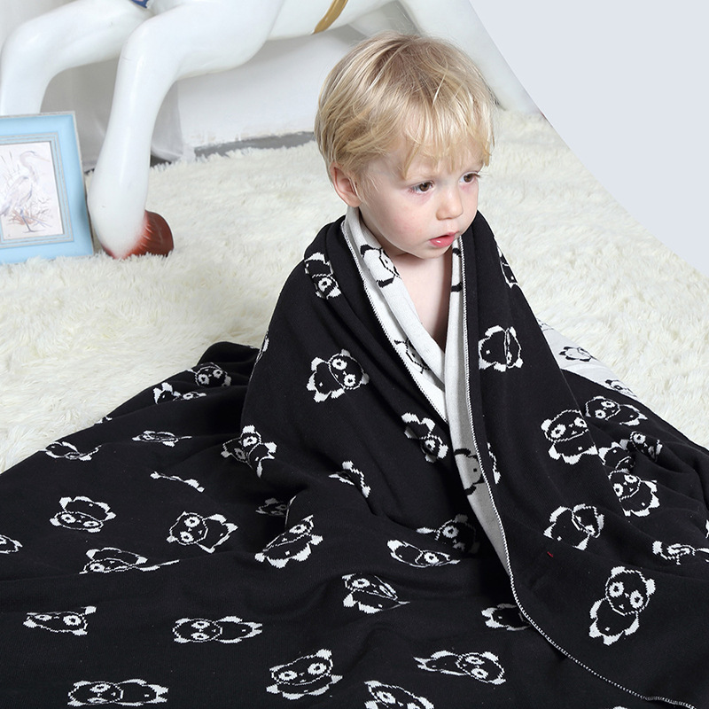 Home Textile Black White Bear Personalized Cotton Kids Blanket Summer Super Warm Soft Baby Throw Blankets on Sofa/Bed/ Travel