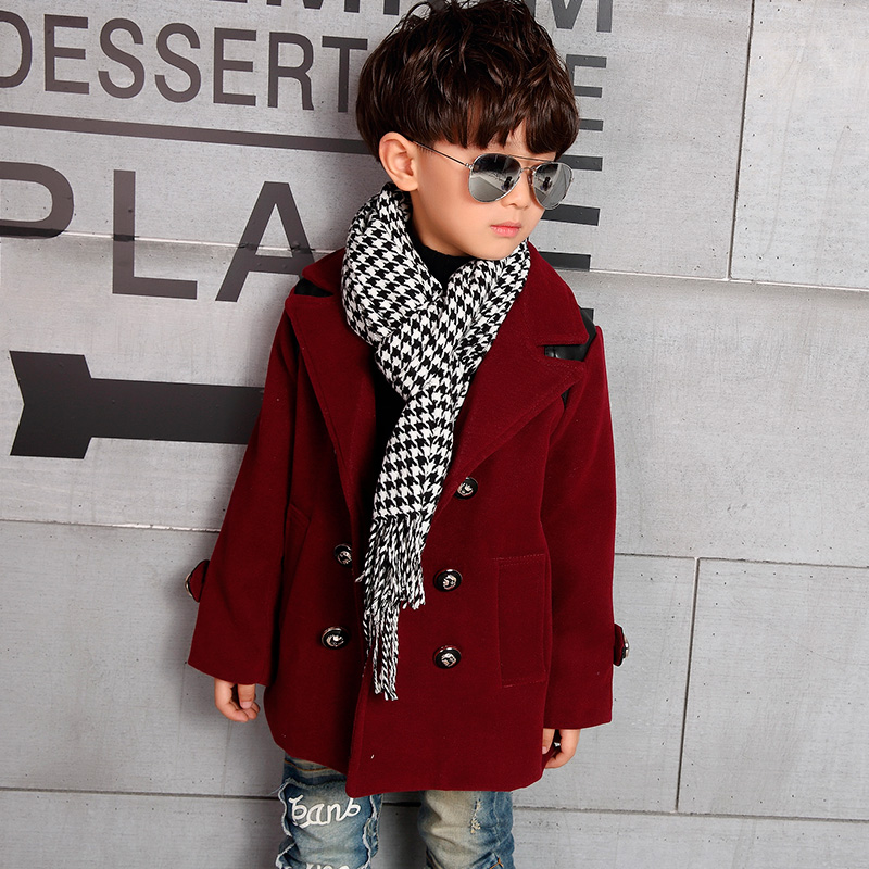 Hot 2018 Fall Winter Children's Fashion Long Trench Coat Overcoat Boys Casual Spliced Tweed Jacket Kids Wool Coat Outerwear G983 winter long wool trench coat men 2017 casual mens jackets coats slim fit men overcoat single breasted pea coat men trench coat