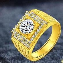 Мужское кольцо с выложенным цирконом желтое золото классическое
