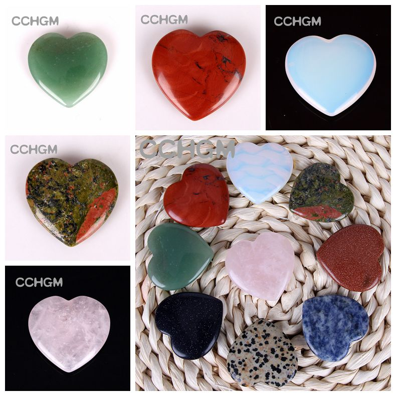 40mm Assorted rose Quartz Aventurine Fluorite opal Heart Shape anheng Lapis Crystal Chakra perler Natural Stone Healing Carved