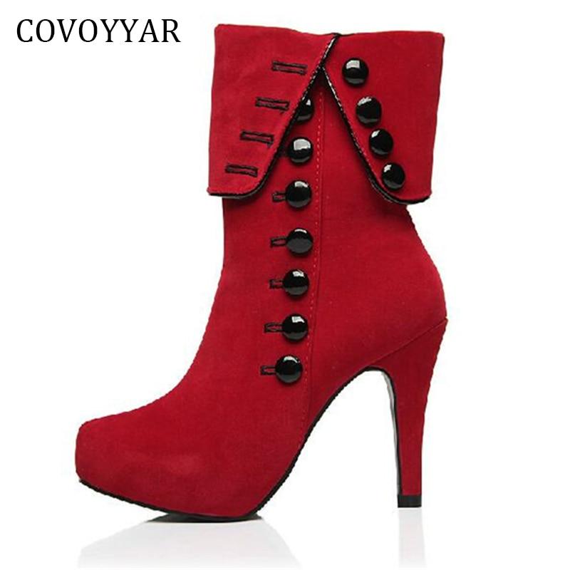 2018 Button Decor Platform Women Ankle Boots Red High Heels Women Shoes Autumn Winter Flock Ladies Boots Big Sizes 35~43 WBS516