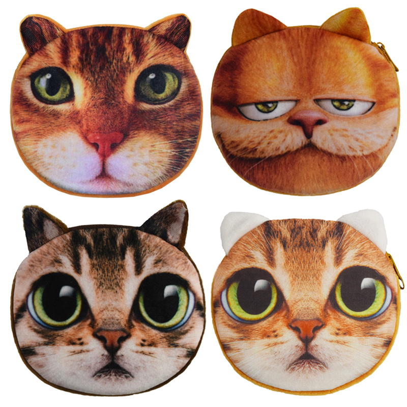 3D Girl Wallet Ladies Bag Zipper Mini Cat Coin Purses Dog Face Children's Purse Plush bolsa de moeda Coins Pouch monedero gato 2017new coin purses wallet ladies 3d printing cats dogs animal big face fashion cute small zipper bag for women mini coin purse