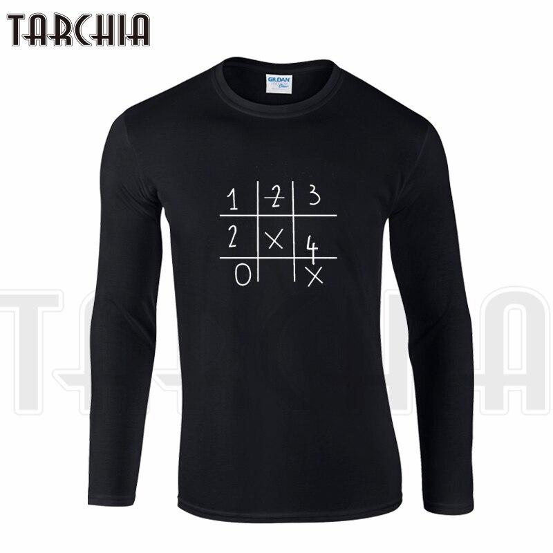 Men's Clothing T-shirts Tarchia Brand Big Size Free Shipping Long Sleeve Men T-shirt 100% Cotton Plus Size Sudoku Number Letter Mens Tee Fashion