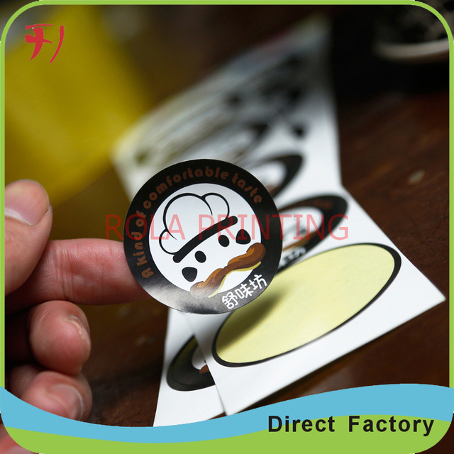 Customized self adhesive paper round die cutting sticker with gold stamping for foods