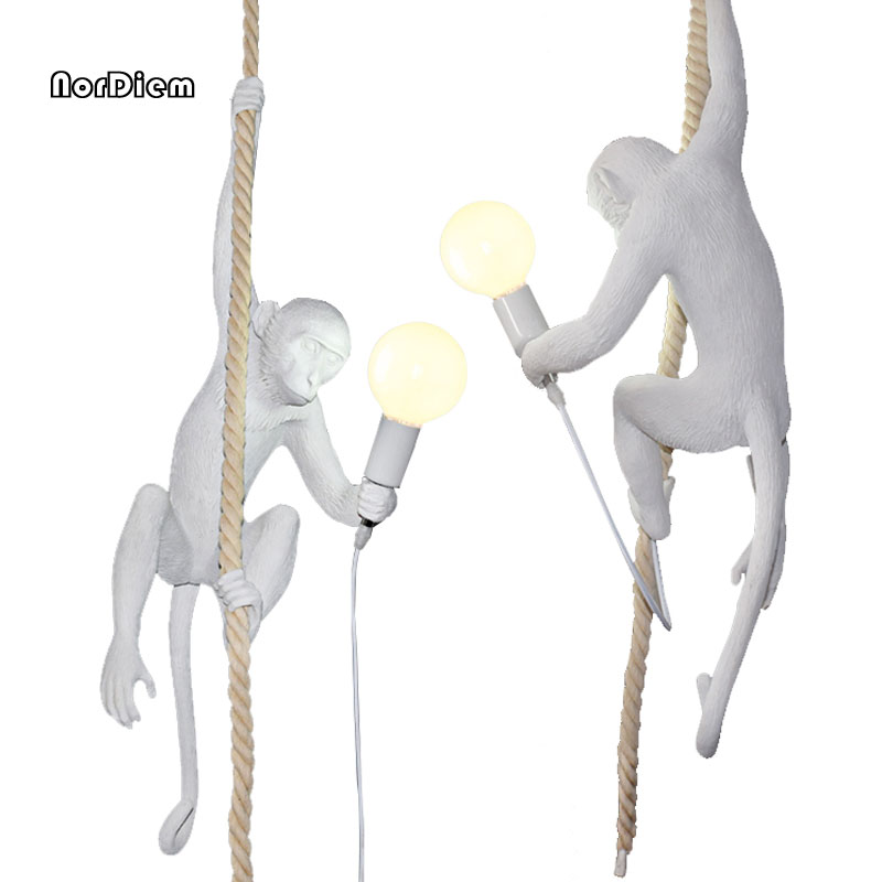 Resin Monkey LED Pendant Lights Modern Droplight Creative Hanglamp Fixtures For Home Lightings Cafe Bar Lamparas Colgantes colorful nordic led pendant lights modern simple pendant lamp creative hanglamp fixtures for home lightings lamparas colgantes