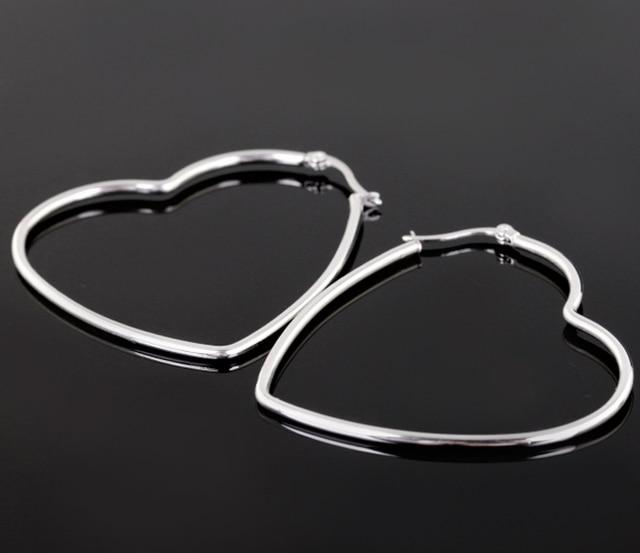 52mm 53mm 8g New Hot Jewelry 316l Stainless Steel Silver Heart Women Stud