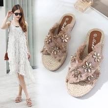 98cfeef9f Banda cruz borla sapatos pescador verão mulher cristal flor bolsa de palha  de malha chinelos franja