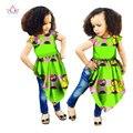 Летние Женщины Африканские Одежды Настроить Девочка Моды Тюрбан Африканских Этнических Гео Dashiki Африканских Батик Печати Одежда BRW WYT40