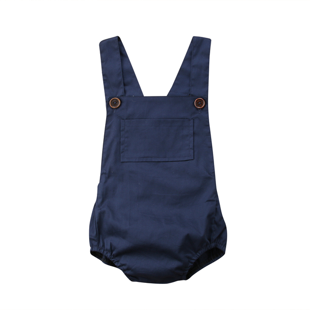 9ca77eb4fc24a Newborn Infant Baby Boy Girl Pocket Button Navy Blue Romper Jumpsuit  Outfits Sunsuit Clothes Baby Clothing