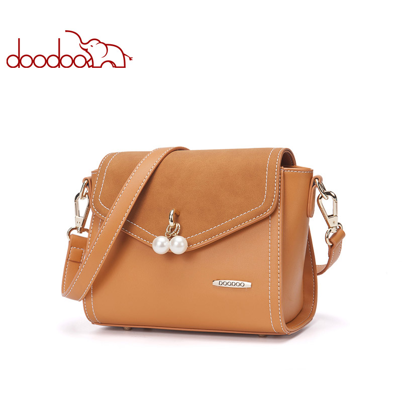 DOODOO Brand Fashion Women Bag Female Shoulder Crossbody Bags Ladies Artificial Leather Pearl New Small 6 Colors Messenger Bags doodoo brand fashion women shoulder bags ladies messenger bag female small chain pu leather saddle crossbody bag bolsa feminina