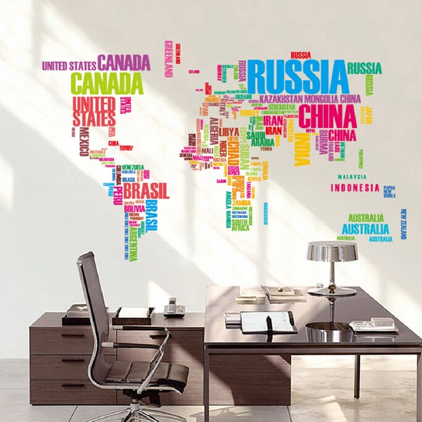 New large world map wall stickers original creative letters map wall new large world map wall stickers original creative letters map wall art bedroom home decorations wall decals in wall stickers from home garden on gumiabroncs Images