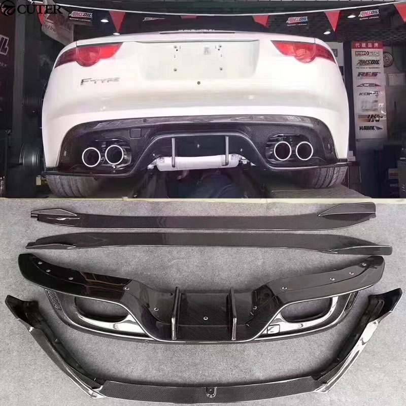 F-TYPE Carbon Fiber Car Body Kits rear diffuser side skirts front lip for Jaguar F-TYPE Car Styling 14-15