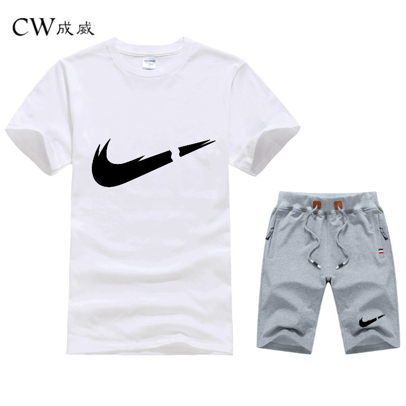CW Tracksuit Summer Cotton Short Set Tshirt Breathable Casual Beach 2019 T-shirt Suit