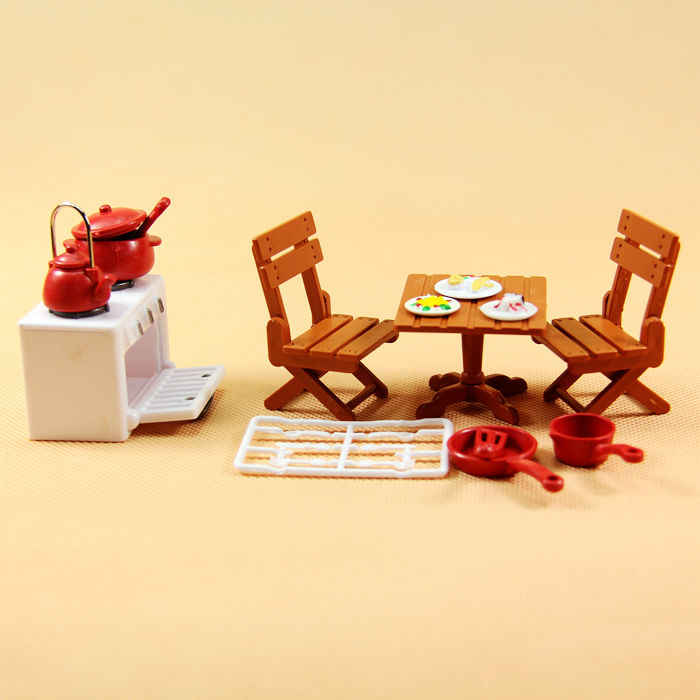 suit for Sylvanian Family figure kitchen set mini furniture pretend toy gift