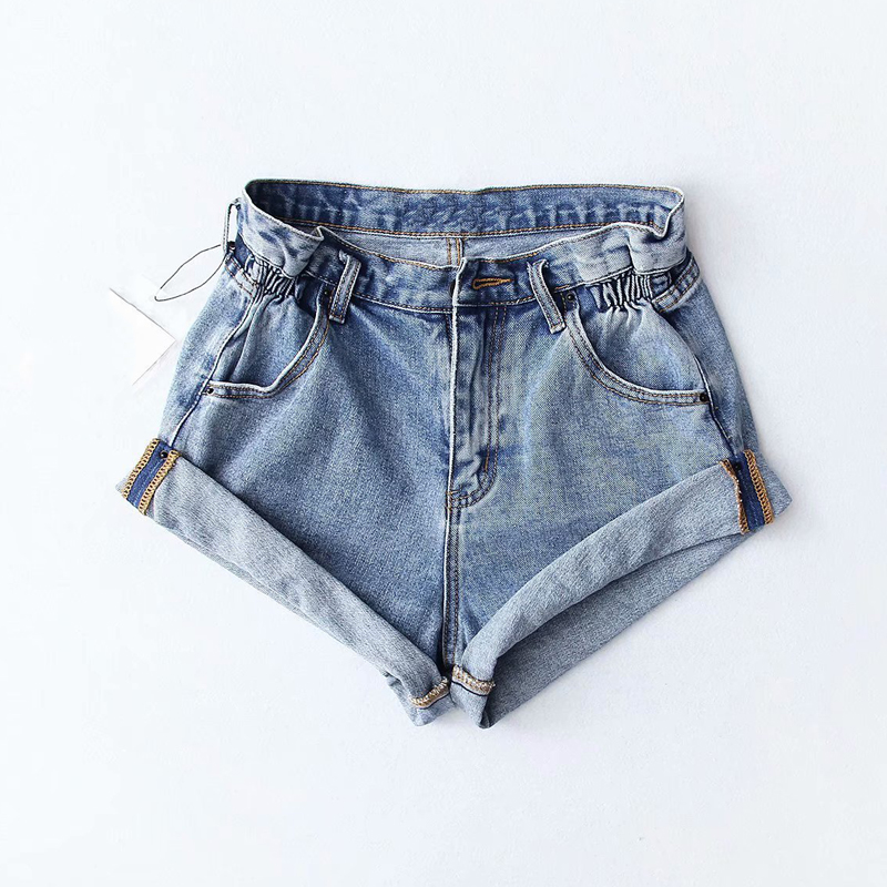 Summer 2019 women Pleat curling   shorts   denim hot   shorts   female denim casual   shorts   High waist Split Hem denim   shorts   for women