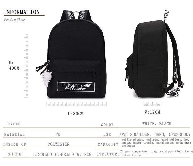 HTB12gB8aL1G3KVjSZFkq6yK4XXaI 2019 New Backpack Fashion Canvas Women Backpack Doll Pendant Travel Women Shoulder Bag Harajuku Backpack Female Mochila Bagpack