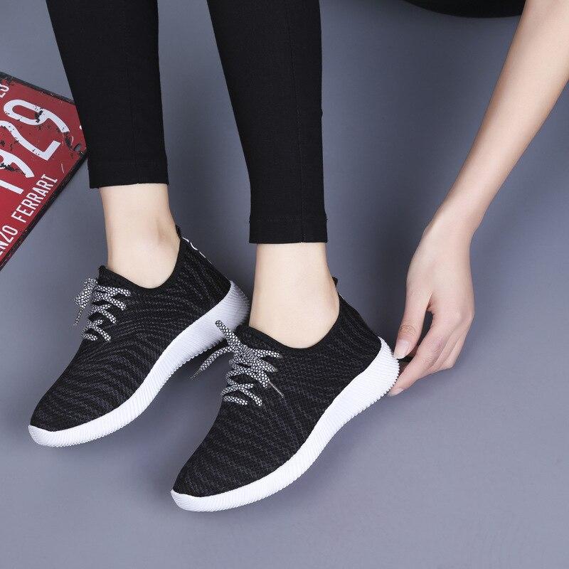 2018 Sneakers Women Vulcanize Shoes Lace Up Ladies Mesh Casual Shoe Female Leisure Flat Footwear Women Summer Shoes DC116