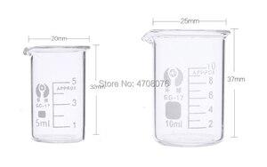 Image 2 - 5ml 20 stks/set Pyrex Beker borosilicaatglas Lab glaswerk chemische maatbeker vlakke bodem voor wetenschappelijke test