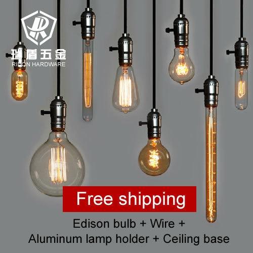 Hot selling!!  vintage Antique wholeset with E27 110v 220V Edison bulb+lamp holder+wire+ceiling base bar shop pendant lighting