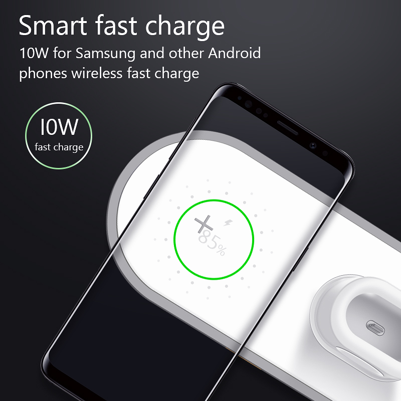 Image 2 - VVKing Wireless Charger For iPhone X XS MAX XR 8 Fast Wireless Full load 3 in 1 Charging Pad for Airpods 2019 Apple Watch 4 3 2-in Mobile Phone Chargers from Cellphones & Telecommunications