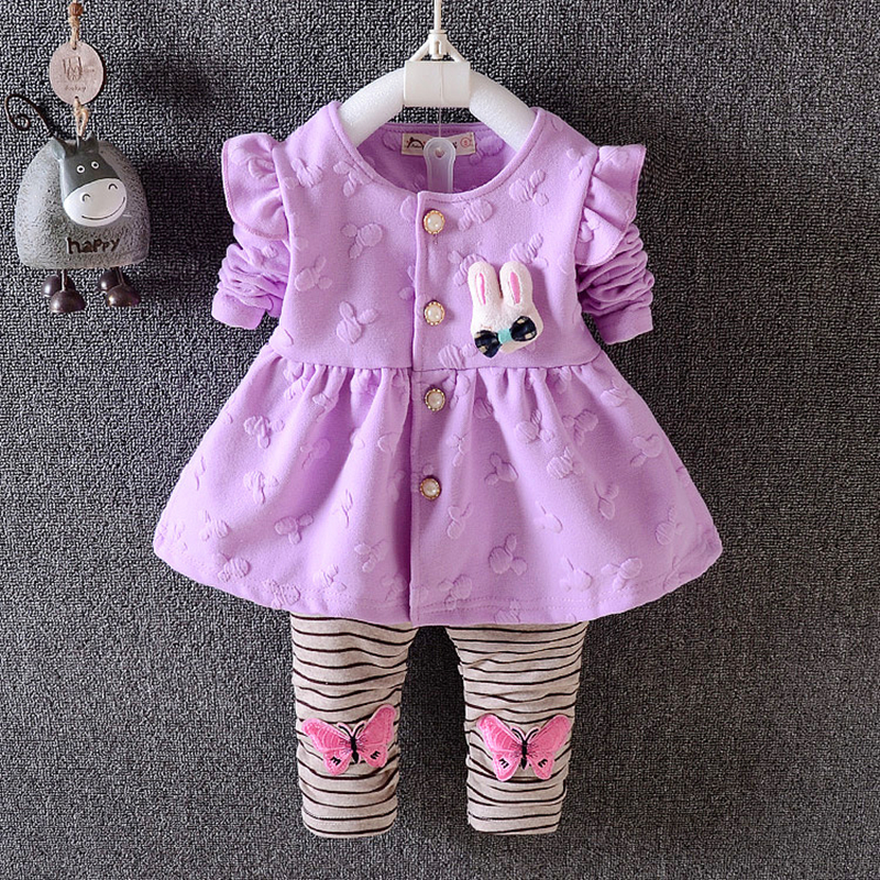 Baby girls spring clothing set newborn baby lovely coat+pants 2pcs cotton fashion clothes suits for baby girls toddler sets