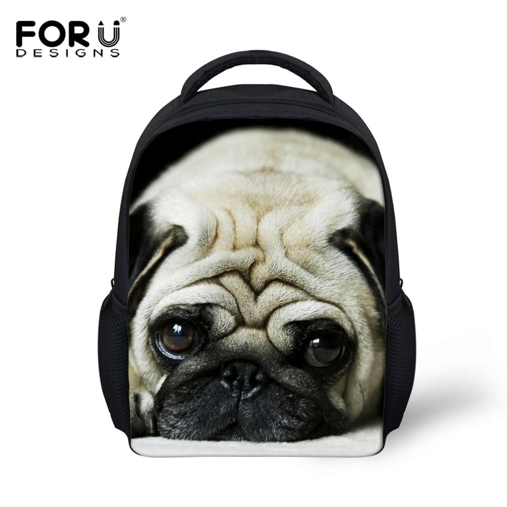 FORUDESIGNS Kids Backpack 3D Pug Dog Animal Mini Back Pack For Children Boys Kindergarten Baby Student Schoolbag Mochila Infatil кронштейн hama h 118104 для телевизора 32 65 до 35кг черный