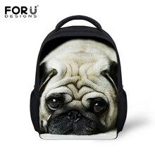 FORUDESIGNS Kids Backpack 3D Pug Dog Animal Mini Back Pack For Children Boys Kindergarten Baby Student