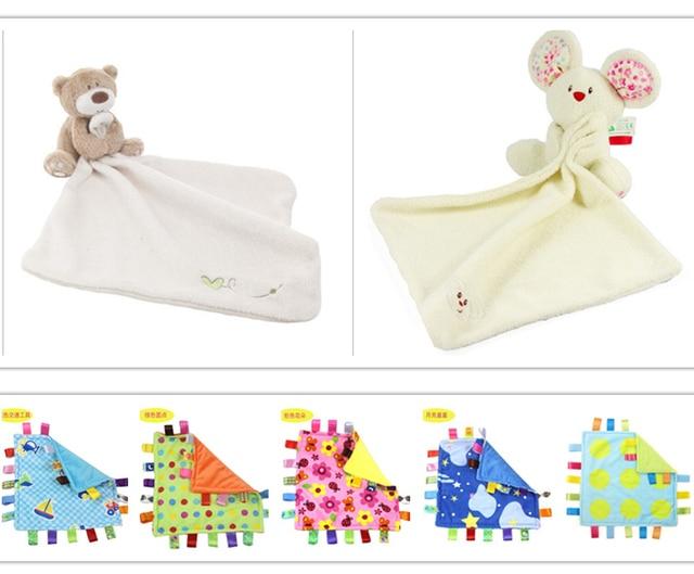 Urso bonito Do Bebê Cobertor 35*30 cm Coral Macio Do Velo Do Bebê Brinquedos Aprendizado & Educação Produtos de Cuidados Do Bebê Alta qualidade YYT087-YYT088