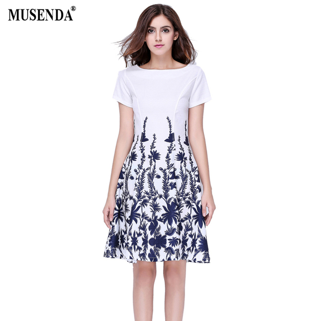 MUSENDA Summer Style Women Casual Party Vintage Blue Print Short Sleeve White  Dresses Fit and Flare