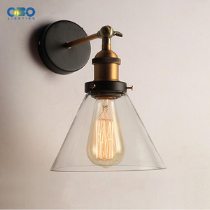 Image 2 - Retro Glass Wall Lamp  Loft Vintage Metal Triangle Oval Clear Wall Light Edison  40W  Industrial Wall Sconce