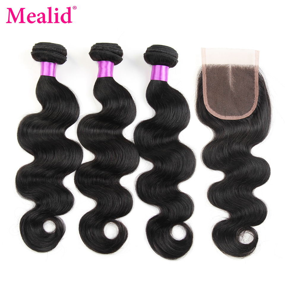 Mealid Body Wave Bundles With Closure Brazilian Hair Weave With Closure Non-Remy 3 Bundles With Closure Human Hair Extensions