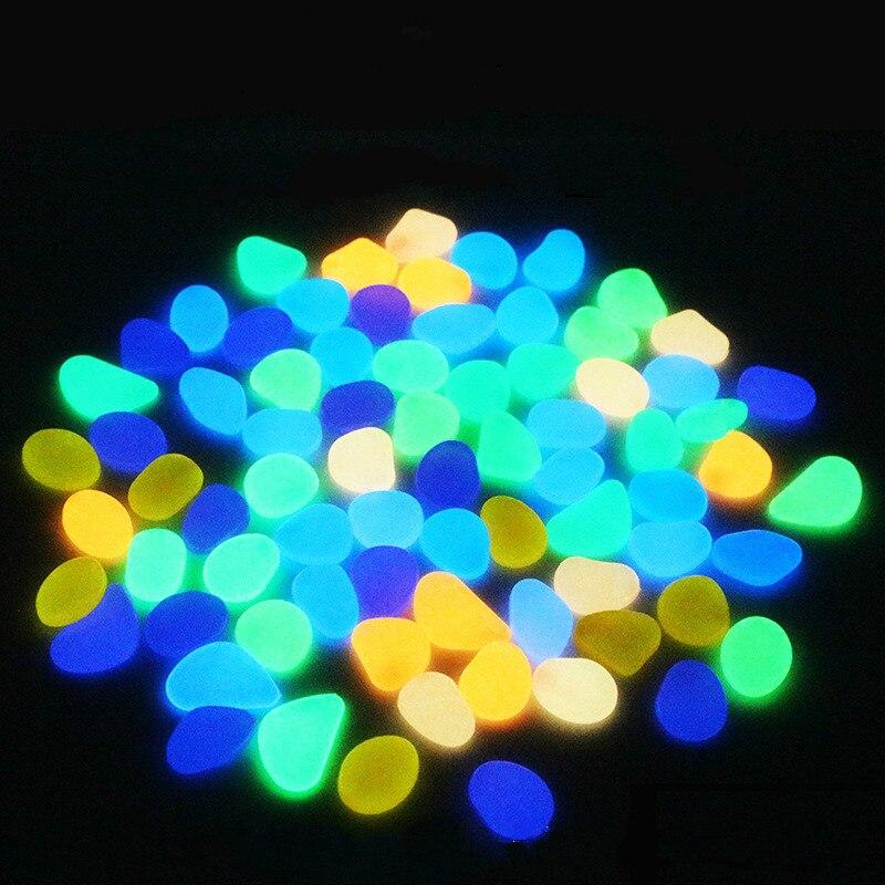 100Pcs Artifical Pebbles Luminous Stones For Walkway Vases Aquariums Swimming Pool Glow In The Dark Luminous stone
